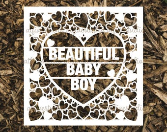 Beautiful Baby Boy Papercutting Template for Personal or Commercial Use Download Cut File JPEG PNG Newborn Birth Congratulations