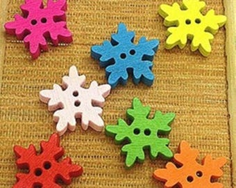 set of 15 buttons 18 mm scrapbooking wooden snowflakes