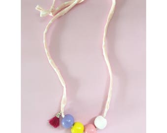 Pastel wood beads necklace.