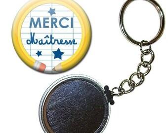 Key Badge 38 mm - thank you teacher notebook pencil school gift