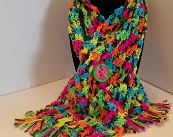 Neon rainbow winter neck scarf w/ fringe.
