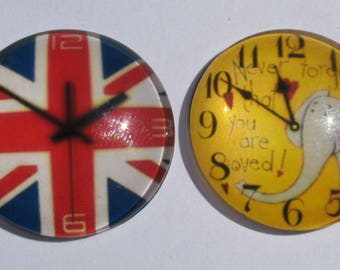 2 cabochons 25 mm vintage clock