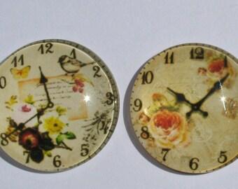 2 cabochons 25 mm vintage clock