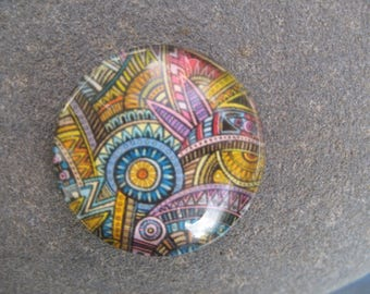 cabochon 20 mm round glass jungle theme