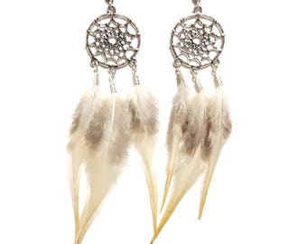 Earrings dreamcatcher and feathers
