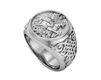 George the Victorious Men's Ring Sterling Silver 925 SKU km483