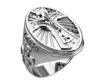 Jesus Christ Save & Protect Men's Ring Sterling Solid Silver 925 SKU30285