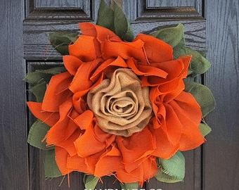 Burlap Flower Wreath // Front Door Wreaths // Floral Wreaths // Rustic Farmhouse Décor // Rustic Wreath // Fall Decor