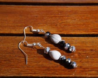 gorgeous earrings with job's tears and faceted glass bead