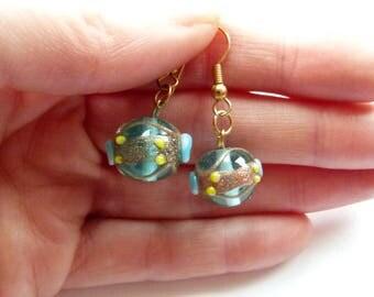 Light blue Venetian glass dangle earrings, Venetian dangle earrings, Murano Glass earrings, Real Venetian Glass earrings, Gold earrings