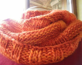 Mixed Snood, neck knitted, gradient orange color hand