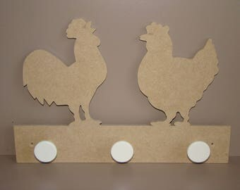 Coat rack hen and Rooster MDF customize 32 cm x 20.5 cm