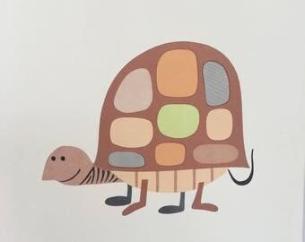 Vintage Mid Century Turtle Print