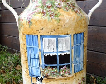Vintage - painted chain: window with shutters Blues/ladder/small dog
