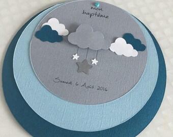 Share round christening or birth theme star & cloud boy