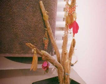 Driftwood jewelry holder or display.
