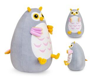 Fatty stuffed Owl toy, handmade grey and yellow Owl, plush soft Owl for baby