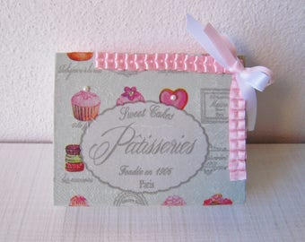 Rectangular box decoupage with pastry decoration