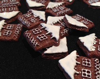 Sold by 2: gingerbread house shaped Cabochon.
