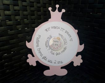 share birth, baptism round.. theme Princess Lady with badge in the Middle
