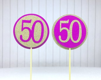"""50th Birthday Cupcake Toppers - Gold Glitter & Hot Pink """"50"""" - Set of 12 - Elegant Cake Cupcake Age Topper Picks Party Decorations"""