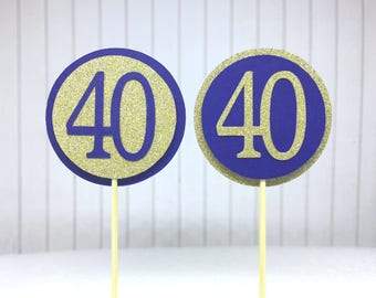 """40th Birthday Cupcake Toppers - Gold Glitter & Navy Blue """"40"""" - Set of 12 - Elegant Cake Cupcake Age Topper Picks Party Decorations"""