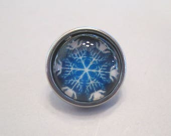 x 1 Snap - button 12mm - snowflake snow - model 1 - silver
