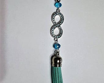 Turquoise blue bag/Keychain infinity jewelry