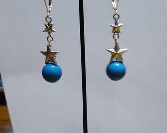 Stars and dark turquoise howlite earrings