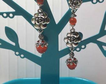 Orange flowers and beads cat eye earrings