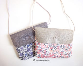 Girl's Sling purse in Liberty Of London and glitter canvas.