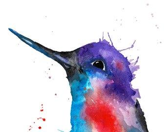 Hummingbird Watercolour Painting Giclee Print A4