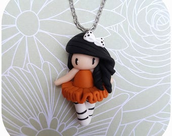 "Necklace little girl ""tutu orange/brown, black hair"" (dancer collection)"
