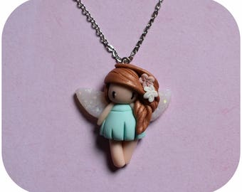 "Necklace little girl ""Pearl Pink hair, Aqua green dress"" (collection fee)"