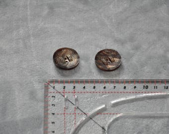 Set of 2 buttons 2 holes Brown 27 mm - vintage - very good condition sytnthetiques