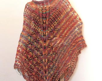 Multicolor triangular shawl matches her dress tunic