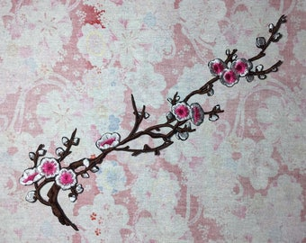 Pink blossom flower patch, iron on patch