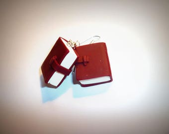 Old book cover red leather earrings with polymer clay