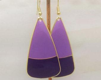 lovely Purple Violets enamel earrings