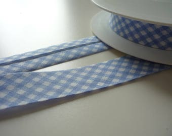 1 m light blue and white bias tape 20mm