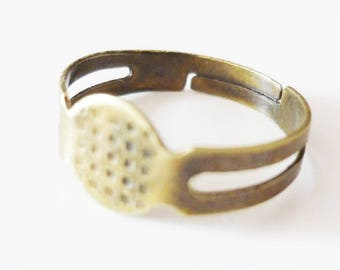 Set of 30 blank ring adjustable silver metal