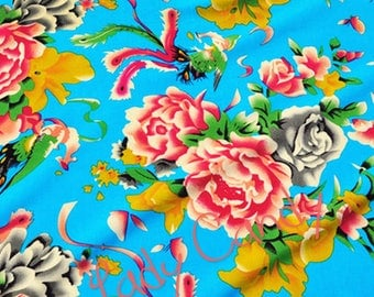 1 m Chinese fabric / shades of blue floral / sewing 145 x 100 cm #7191