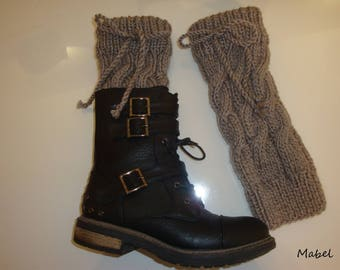 Leg warmers handmade knit, grey leggings, taupe, twist, very warm, French wool