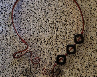Red and black asymmetrical necklace