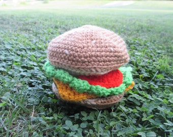crocheted cheeseburger squeaky dog toy