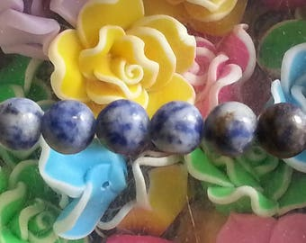 1 Pearl, stone lace blue agate 8mm diameter, hole 1 mm