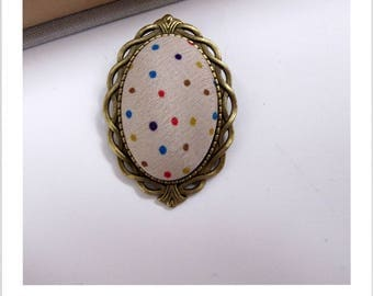 "Fabric brooch beige multicolor polka dots ""skewer me"""