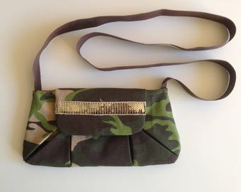 Cotton print camouflage khaki pouch