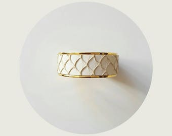 White Gold Leather wide cuff