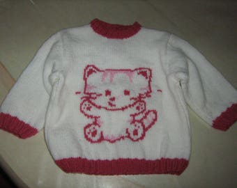 New hand knit white and pink sweater with cat size 1 year